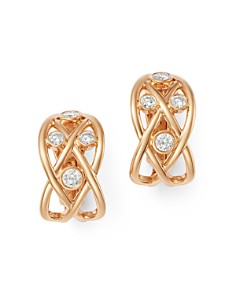 Roberto Coin - 18K Rose Gold Baci Diamond Huggie Hoop Earrings